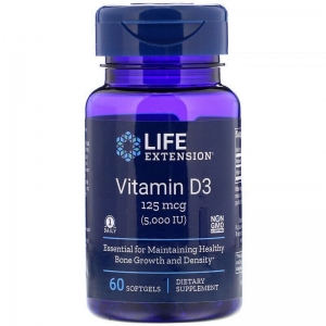 Витамин Д-3, Life Extension, 5000 МЕ, 60 капсул