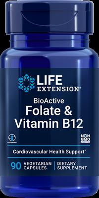 Фолиевая кислота и В12, Folate & Vitamin B12, Life Extension, 90 капсул
