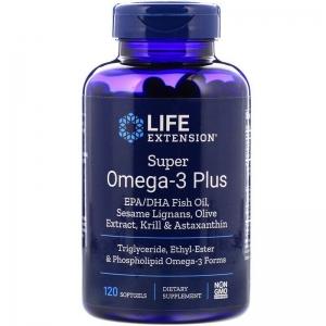 Омега-3 супер +, Super Omega-3 Plus, Life Extension, 120 капсул