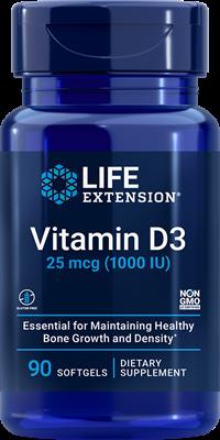 Витамин Д-3, Life Extension, 1000 МЕ, 90 капсул