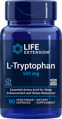 L-триптофан (L-Tryptophan), Life Extension, 500 мг, 90 капсул