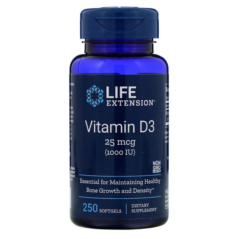 Витамин Д-3, Vitamin D3, Life Extension, 1000 МЕ, 250 капсул