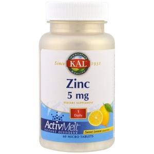 Цинк, вкус лимон, Zinc, Sweet Lemon, KAL, 5 mg , 60 микро таблеток