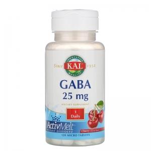 ГАМК (гамма-аминомасляная кислота), GABA, KAL, вишня, 25 мг, 120 таблеток