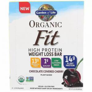 Батончики с растительным белком для похудения, Protein Bar, Garden of Life, вишня в шоколаде, органик, 12 шт. по 55 г