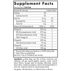 Омега 3 6 9 + Д3, Nordic Naturals, 1000 мг, 60 кап.