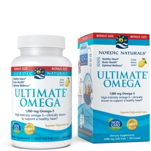 Nordic Naturals, Ultimate Omega, Lemon, 1,280 mg, 90 Soft Gels