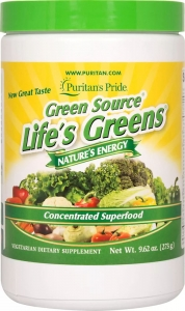 Суперфуд, Green Source Life's Greens, Puritan's Pride, порошок, 273 г