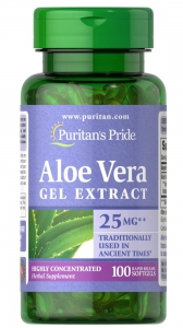 Алоэ вера, экстракт, Aloe Vera Extract, Puritan's Pride, 25 мг, 100 гелевых капсул