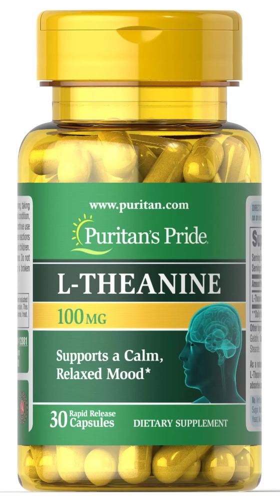 L-теанин, L-Theanine, Puritan's Pride, 100 мг, 30 капсул