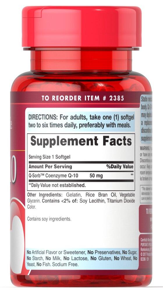 Коэнзим Q-10, Q-SORB™ Co Q-10, Puritan's Pride, 50 мг, 50 гелевых капсул