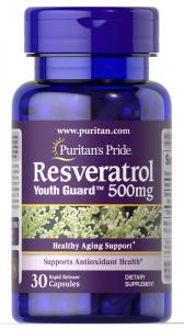 Ресвератрол, Resveratrol, Puritan's Pride, 500 мг, 30 капсул
