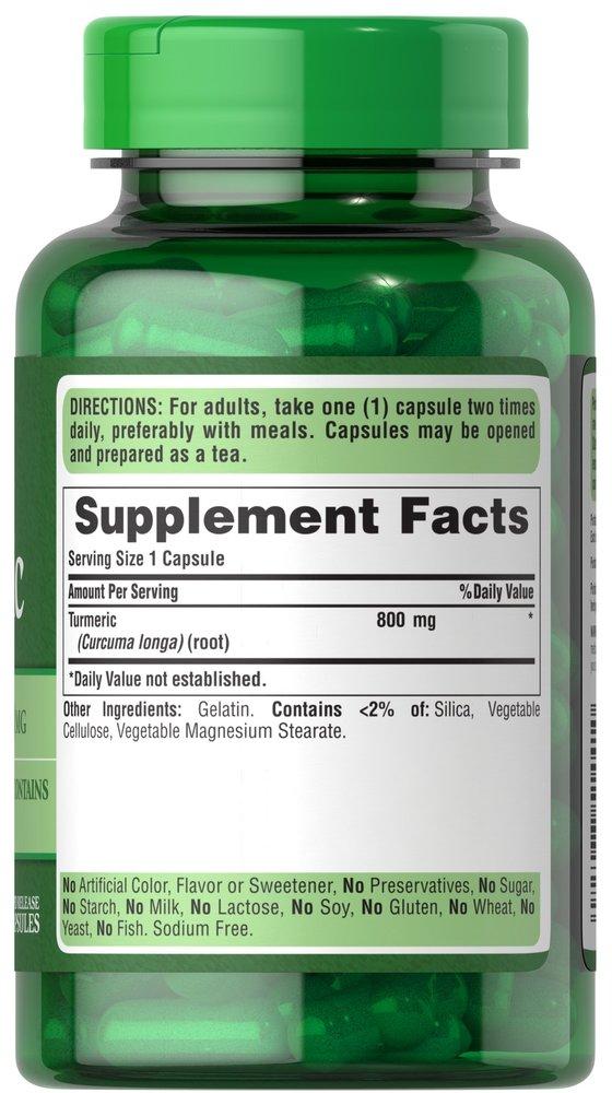 Куркумин, Turmeric, Puritan's Pride, 800 мг, 100 капсул