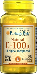 Витамин Е, Natural Vitamin E, Puritan's Pride, 100 МЕ, 100 гелевых капсул
