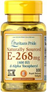 Витамин Е, Vitamin E, Puritan's Pride, натуральный, 400 МЕ, 100 гелевых капсул