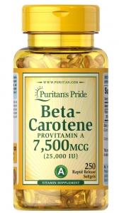 Бета-каротин, Beta-Carotene, Puritan's Pride, 7500 мкг (25000 МЕ), 250 гелевых капсул