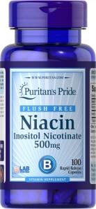 Ниацин, Flush Free Niacin, Puritan's Pride, 500 мг, 100 капсул
