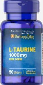 Таурин, L-Taurine, Puritan's Pride, 1000 мг, 50 капсул
