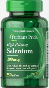 Селен, Selenium, Puritan's Pride, 200 мг, 250 таблеток