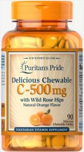 Витамин С с шиповником, Vitamin C, Puritan's Pride, вкус апельсина, 500 мг, 90 жевательных таблеток