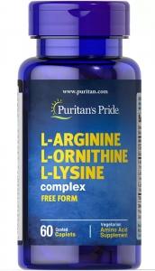 Аргинин, орнитин и лизин, L-Arginine L-Ornithine L-Lysine, Puritan's Pride, 60 капсул