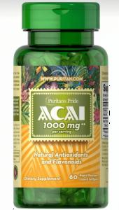 Асаи, Acai, Puritan's Pride, 1000 мг, 60 капсул