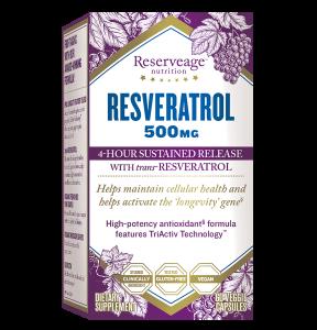 Ресвератрол, Resveratrol, ReserveAge Nutrition, 500 мг, 60 капсул