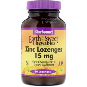 Цинк 15 мг, Вкус Апельсина, EarthSweet Chewables, Bluebonnet Nutrition, 60 таблеток для рассасывания