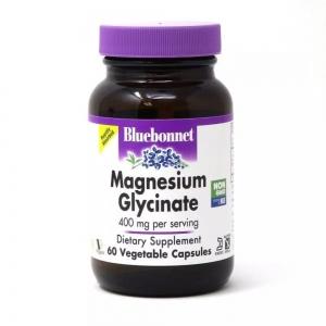 Магний Глицинат, 400 Мг, Magnesium Glycinate, Bluebonnet Nutrition, 60 вегетарианских капсул