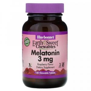 Мелатонин, Melatonin, 3 мг, Bluebonnet Nutrition, EarthSweet, Малиновый Вкус