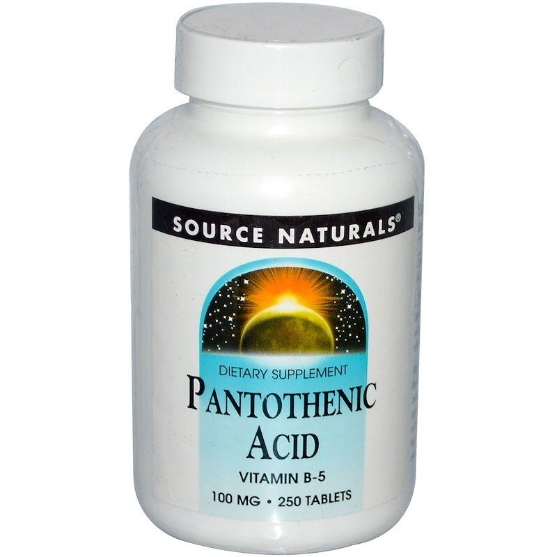 Пантотеновая кислота, Source Naturals, 100 мг,250 табл.