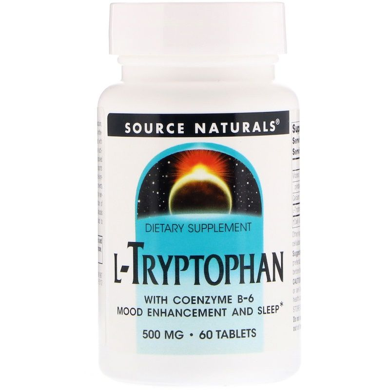L-триптофан коферментный (L-Tryptophan with Coenzyme B-6), Source Naturals, 60 таб.
