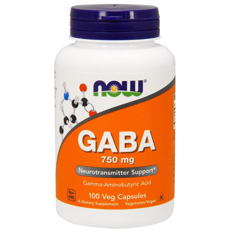 Гамма-аминомасляная кислота (GABA), Now Foods, 750 мг, 100 кап.
