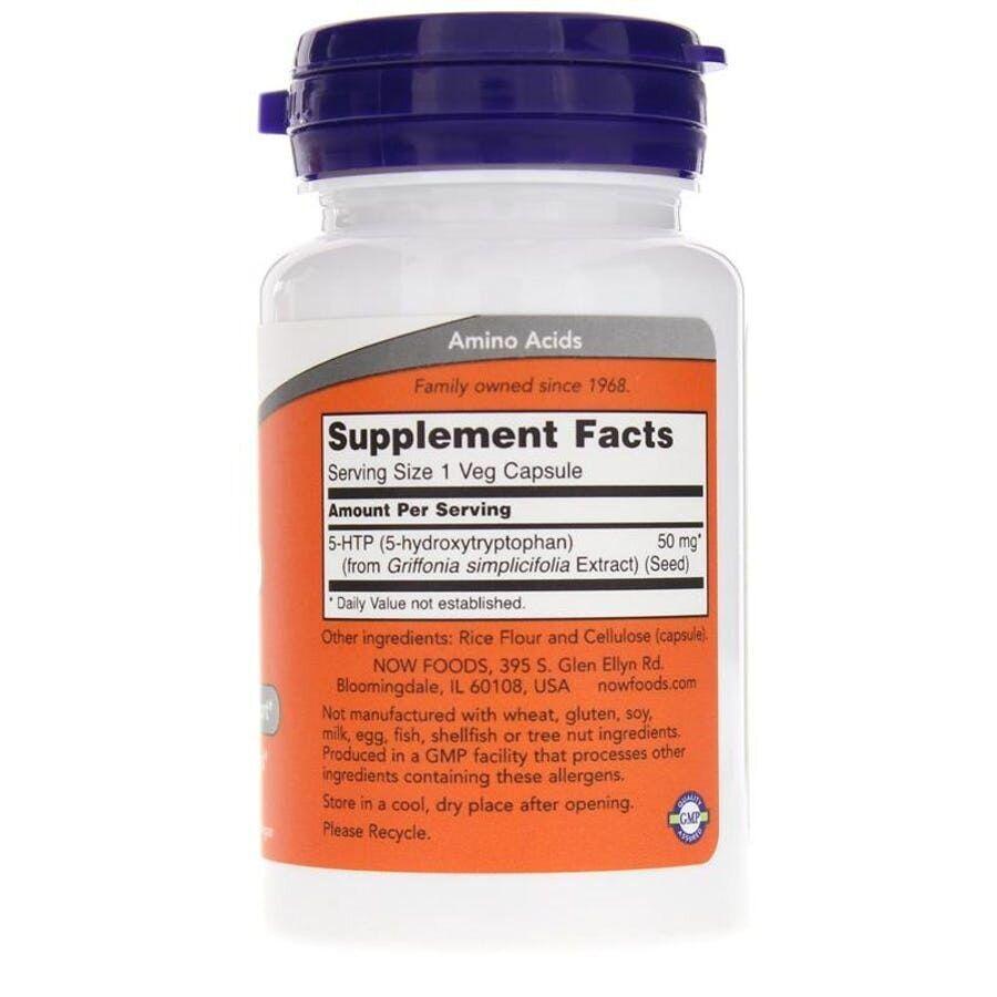 5-HTP, 5-гидрокси L-триптофан, Now Foods, 50 мг.