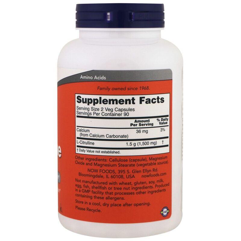 Цитруллин, L-Citrulline, Now Foods, 750 мг, 180 капсул