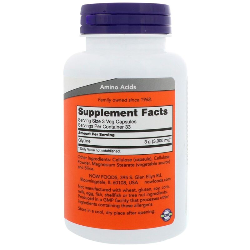 Глицин, Glycine, Now Foods, 1000 мг, 100 капсул