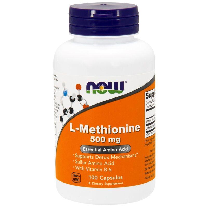 Метионин, L-Methionine, Now Foods, 500 мг, 100 капсул.