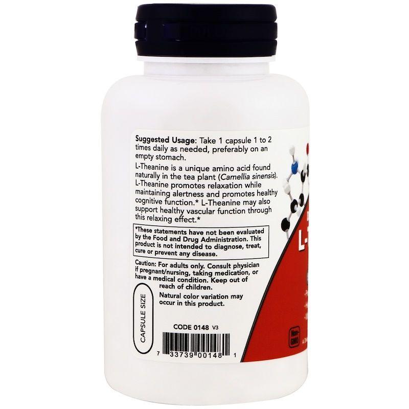 Теанин, L-Theanine, двойная сила, Now Foods, 200 мг.