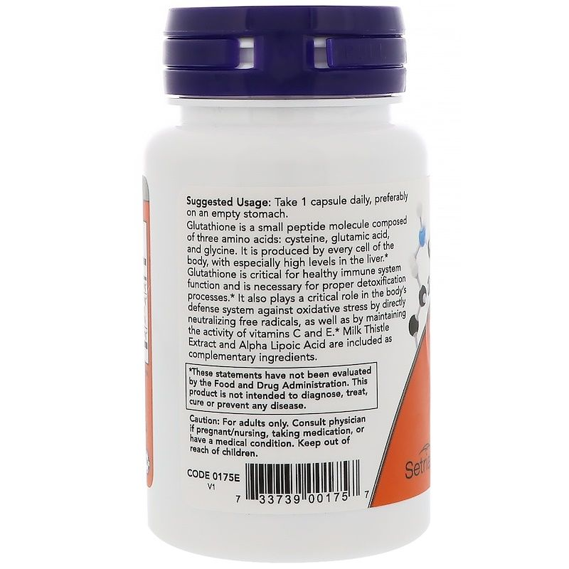 Глутатион, Glutathione, Now Foods, 500 мг.