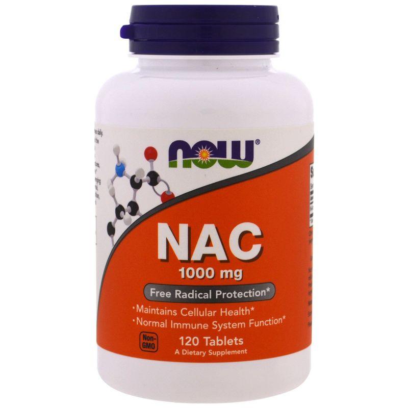 Ацетилцистеин, NAC, Now Foods, 1000 мг, 120 таблеток