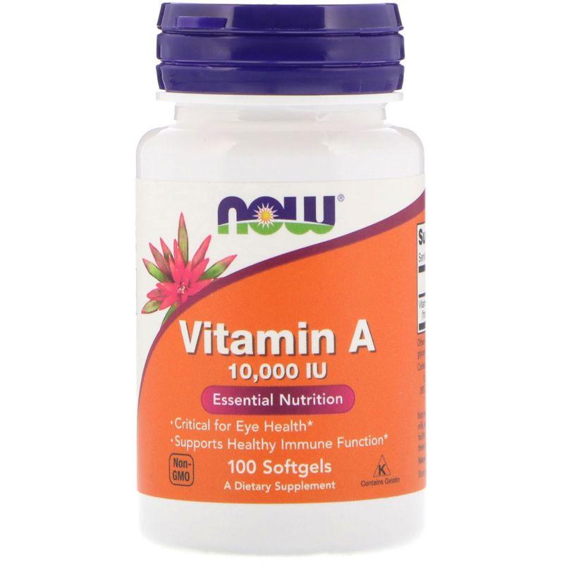 Витамин А, Vitamin A , Now Foods, 10000 МЕ, 100 капсул