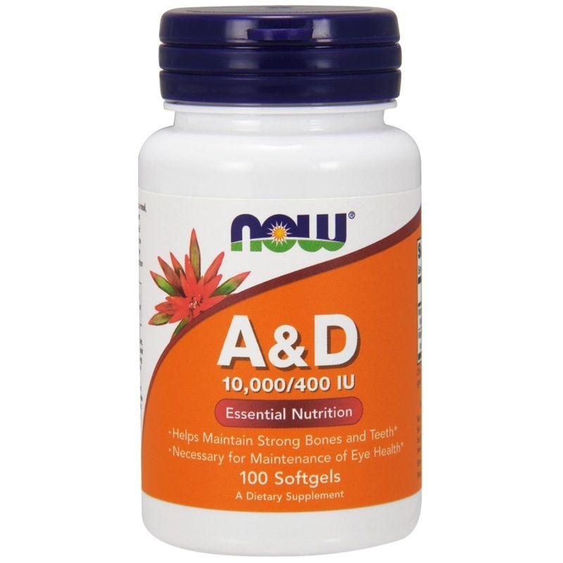 Витамин А и Д, A&D, Essential Nutrition, Now Foods, 10000/400 МЕ, 100 кап.