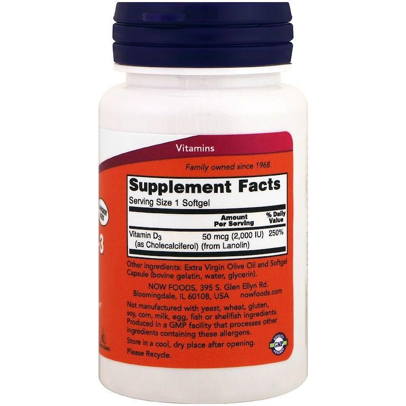 Витамин Д-3, Now Foods, 2,000 МЕ