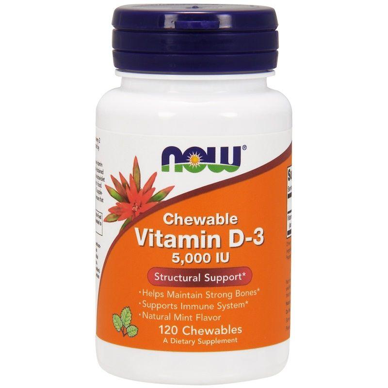 Витамин Д3, Vitamin D-3, Now Foods, мята, 5000 МЕ, 120 жевательных таблеток