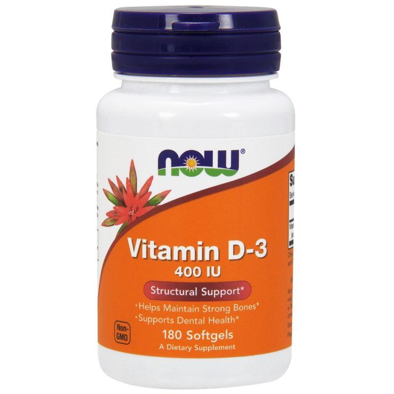 Витамин Д3, Vitamin D-3, Now Foods, 400 МЕ, 180 капсул