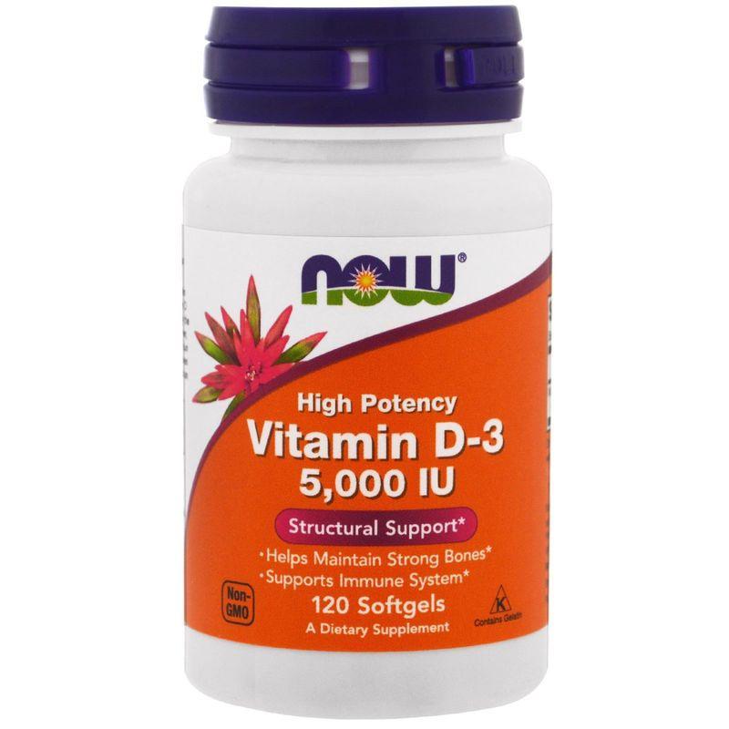 Витамин Д3, Vitamin D-3, Now Foods, 5000 МЕ