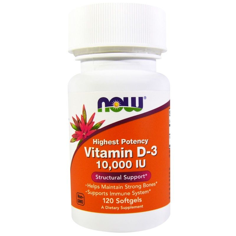 Витамин Д3, Vitamin D-3, Now Foods, 10 000 МЕ