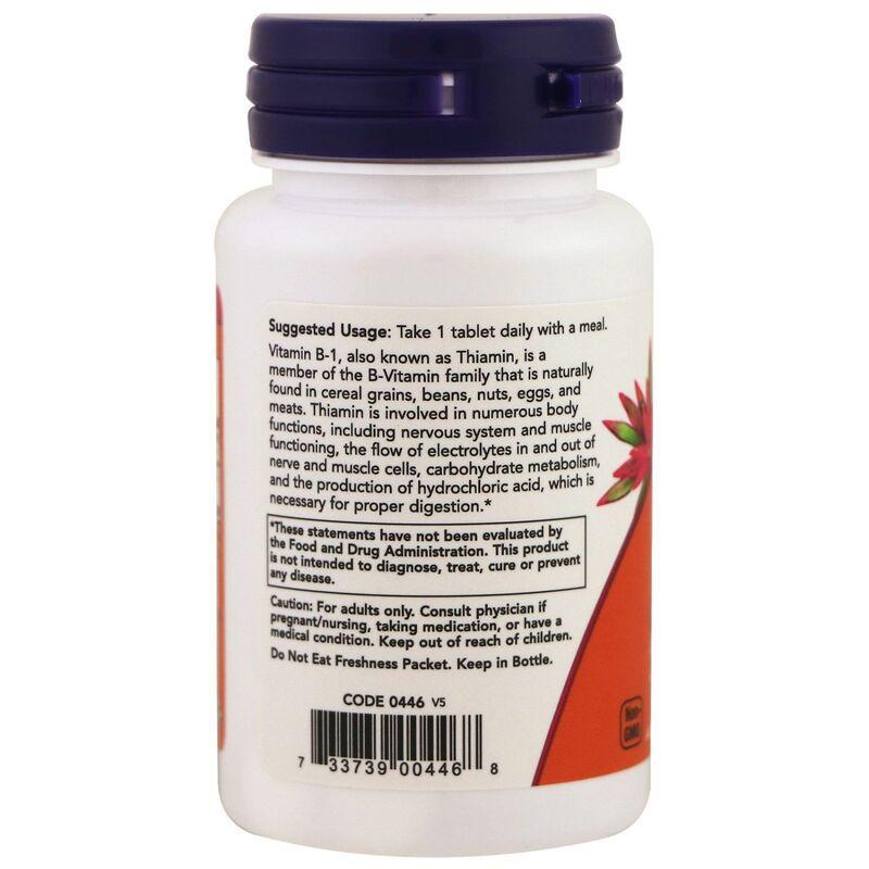 Тиамин, Витамин В1, B-1, Now Foods, 100 мг, 100 таблеток