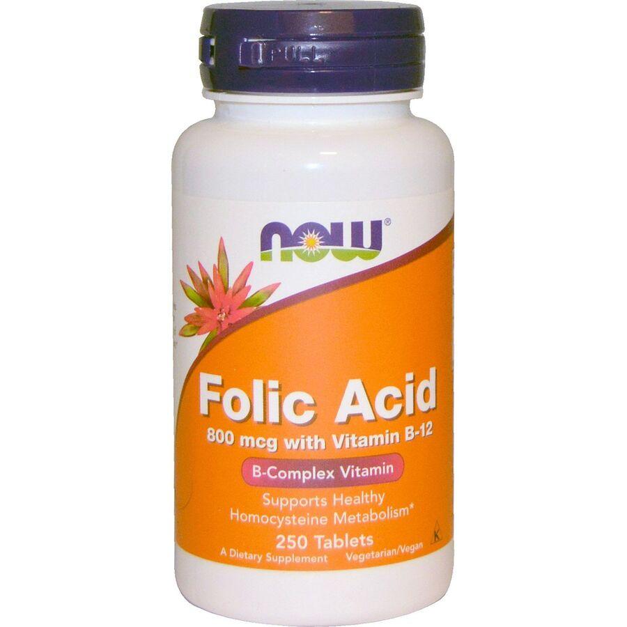 Фолиевая кислота и В12, Folic Acid Vitamin B-12, Now Foods, 800 мкг, 250 таблеток