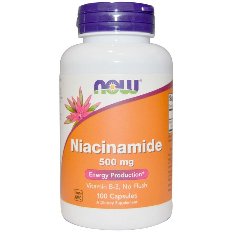Ниацинамид, витамин В-3, Niacinamide, Now Foods, 500 мг, 100 капсул